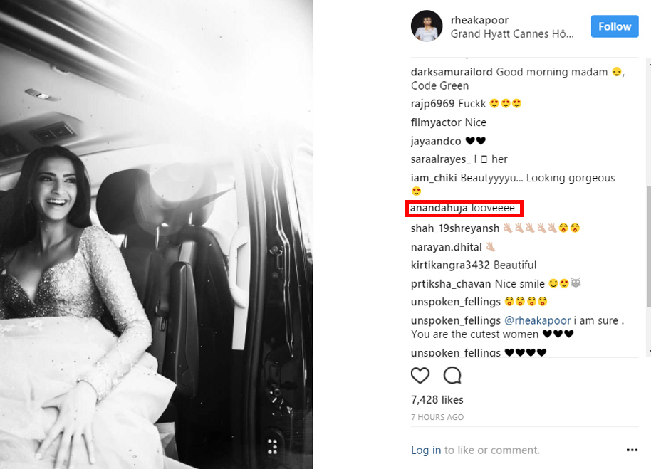 anand ahuja s reply on sonam kapoor s picture