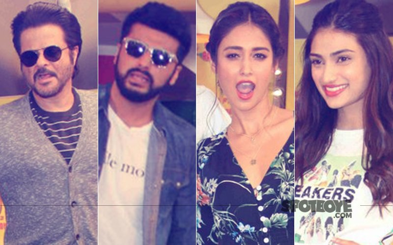 Anil Kapoor, Arjun Kapoor, Ileana D'Cruz And Athiya Shetty Were Spotted  Promoting Mubarakan At A Radio Station