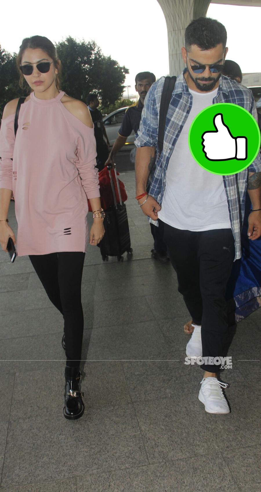 anushka sharma and virat kohli at the airport while departing