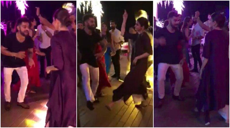 anushka sharma and virat kohli dancing at zaheer and sagrika wedding