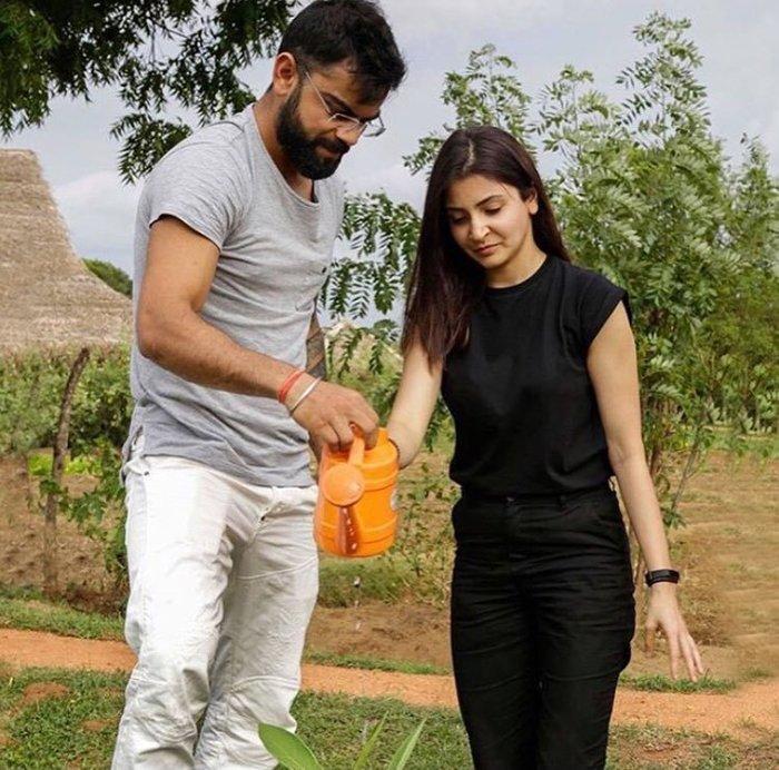 anushka sharma and virat kohli plant a sapling together