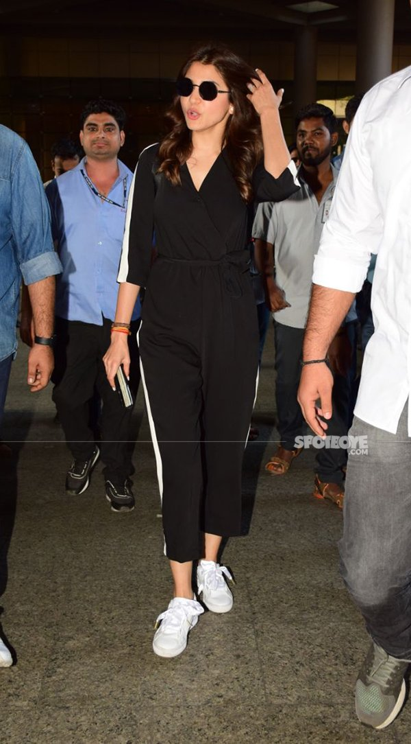 anushka sharma looks chic in a black and white jumpsuit