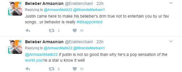 armaan malik trolled by beliebers for his negative comment