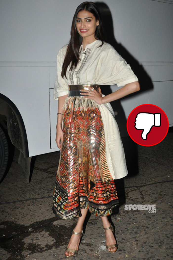 athiya shetty is a disappointment in in the beige printed dress