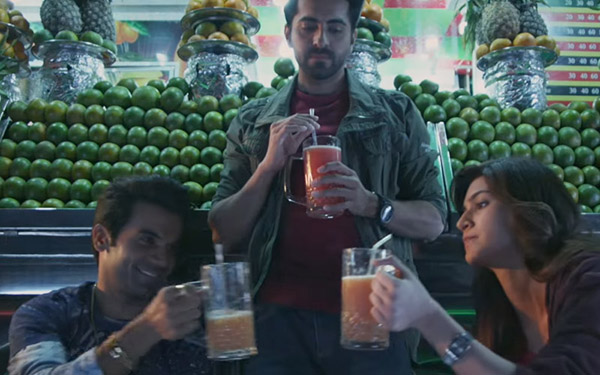 ayushmann khurrana, kriti sanon and rajkummar rao having a fun time in the trailer of bareilly ki barfi