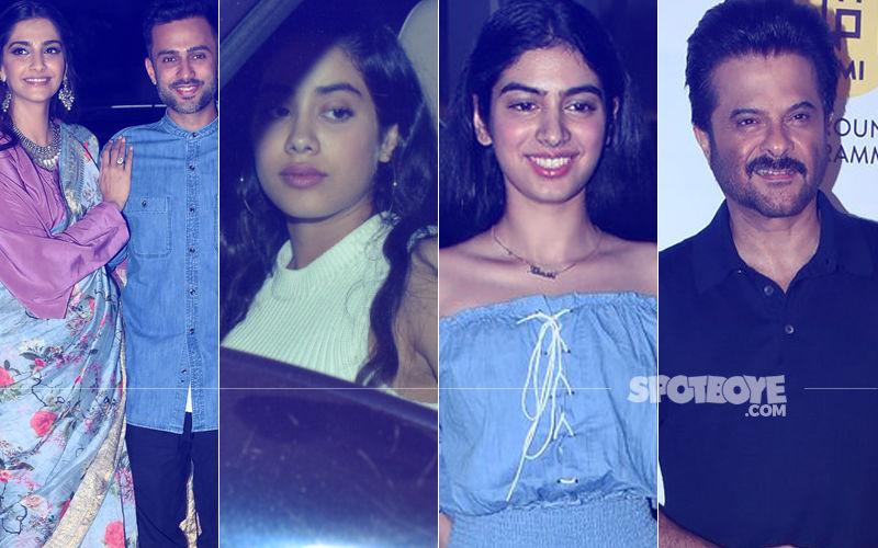 Sonam-Anand, Janhvi-Khushi, Anil Kapoor At Bhavesh Joshi Superhero Screening