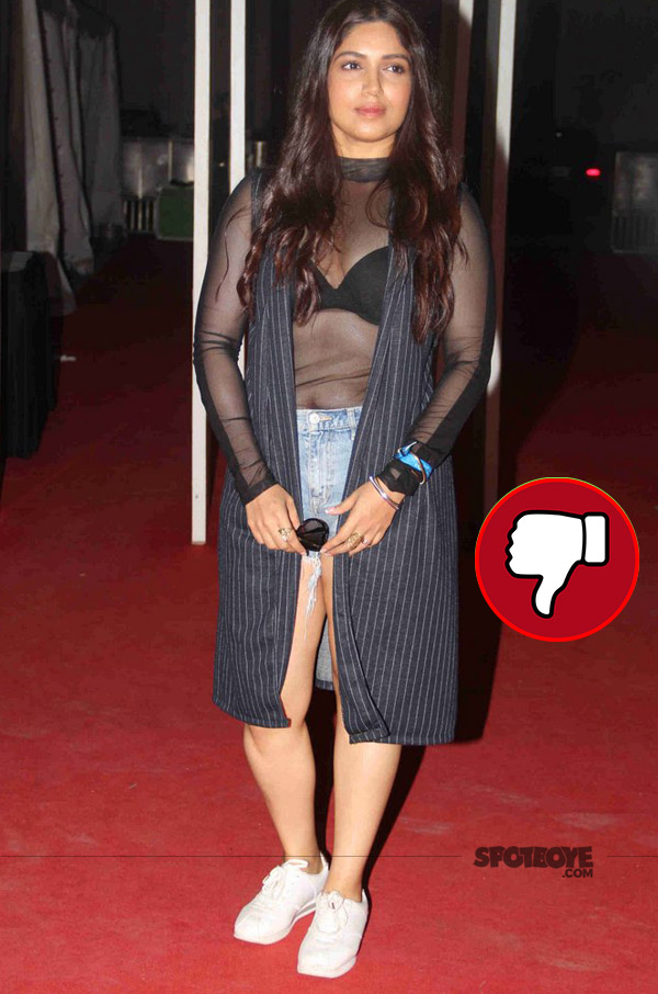 bhumi pednekar in a black sheer top and shorts at justin bieber purpose world tour