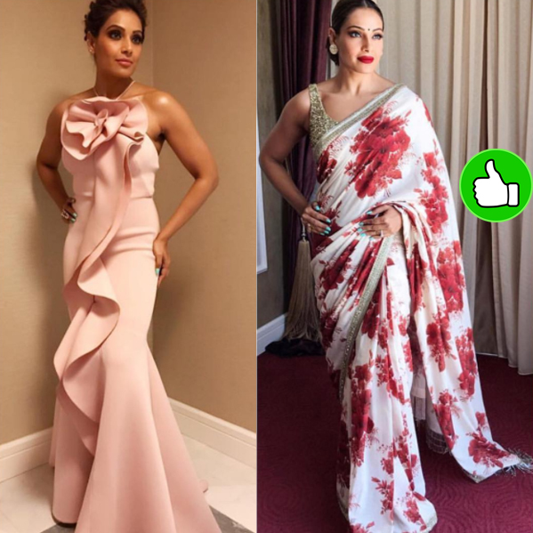 bipasha basu in a gown and a saree