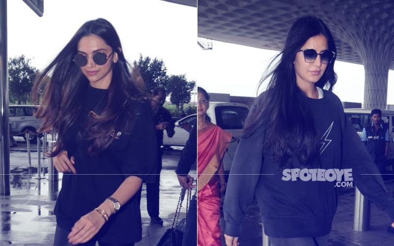 Guilty Of Twinning: Arch Rivals Deepika Padukone & Katrina Kaif Sport All-Black At The Airport