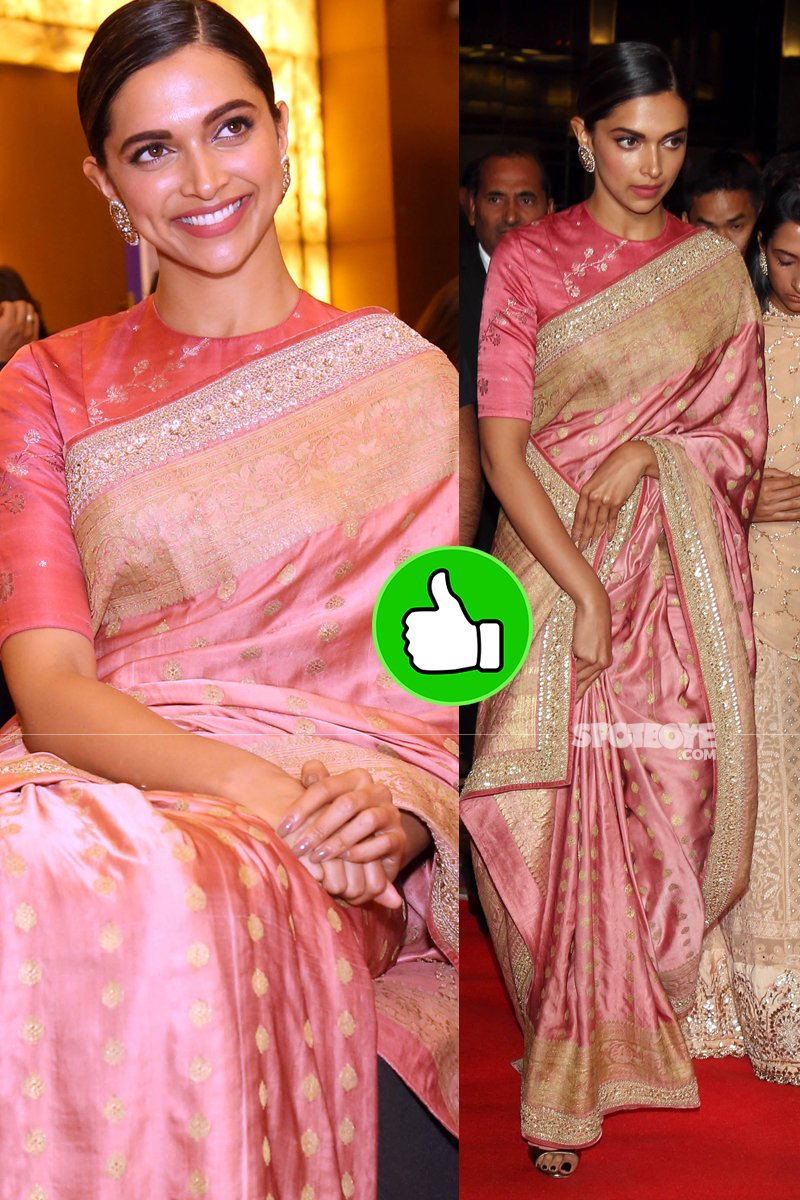 deepika padukone rocks the pink saree
