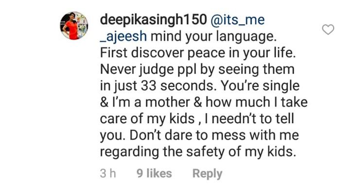 deepika singh replies to a troll