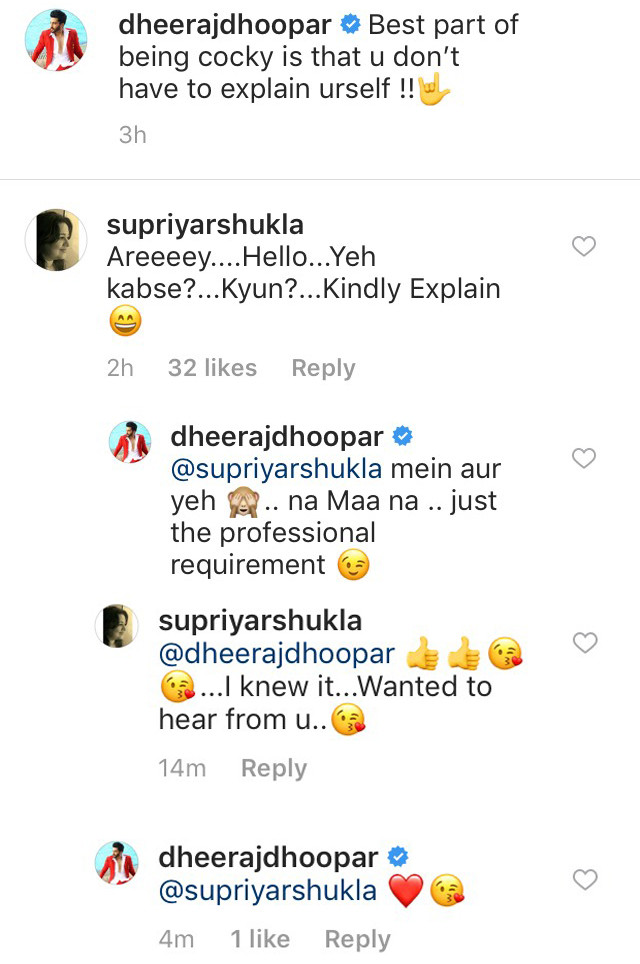 dheeraj dhoopar mother in law comments on his latest instagram post
