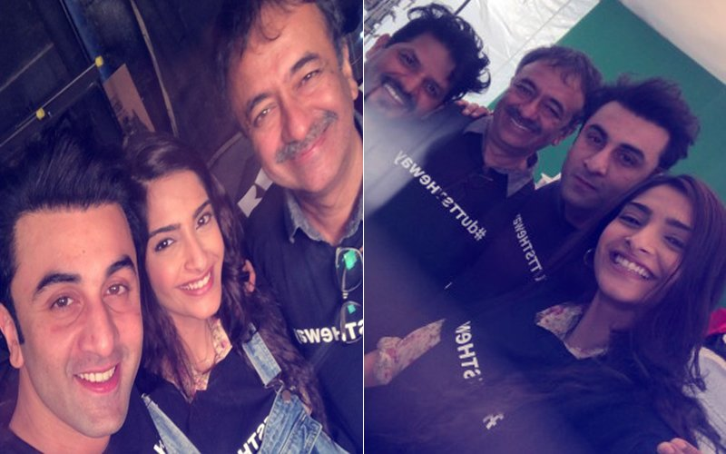 Ranbir Kapoor And Sonam Kapoor Including The Whole 'Dutt' Biopic Cast, Wears T-Shirt Labelled 'Dutt's The Way'. Is That The Film's Title?