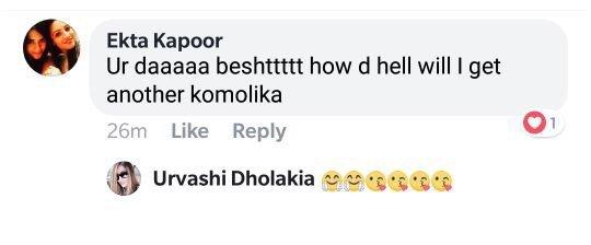 ekta kapoor message for urvashi dholakia