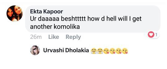 ekta kapoor message for urvashi dholakia