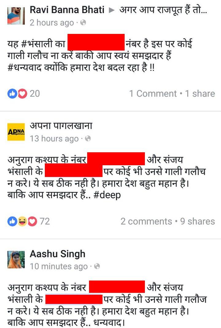 facebook posts mentioning sanjay leela bhansali number