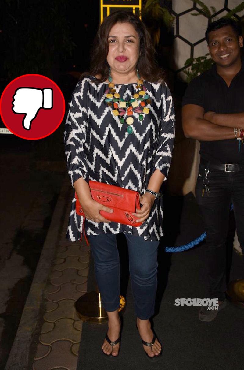 farah khan snapped at rohini iyer birthday party
