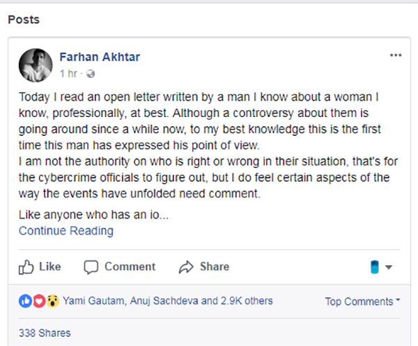 farhan akhtar facebook post