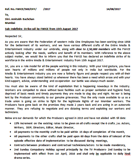 fwice sends a letter to amitabh bachchan