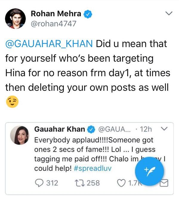 gauahar khan rohan rehra twitter war