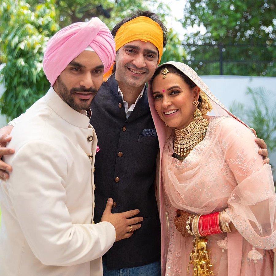 gaurav kapoor with newlyweds angad bedi and neha dhupia