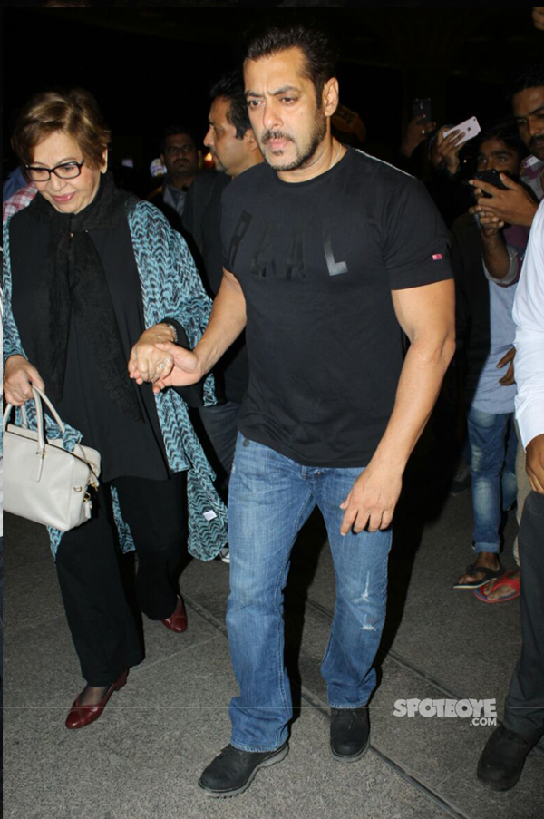 helen with salman khan at the airport departing for iifa