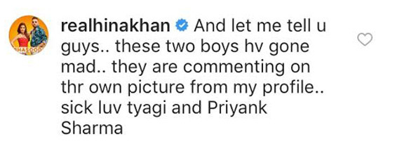 hina khan comment on instagram