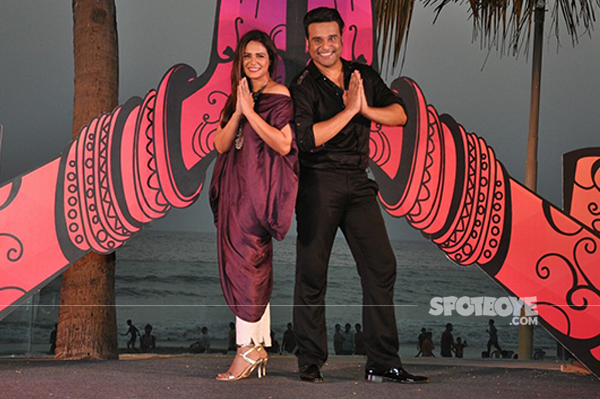 host mona singh and krushna abhishek at the launch of india banega manch in association with colors