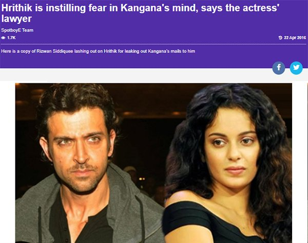 hrithik is isntilling fear in kanganas mind