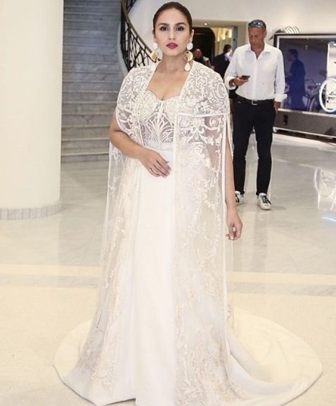 huma qureshi in a white gown