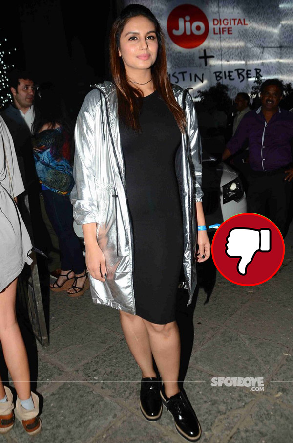 huma qureshi used a metallic jacket at justin bieber purpose world tour
