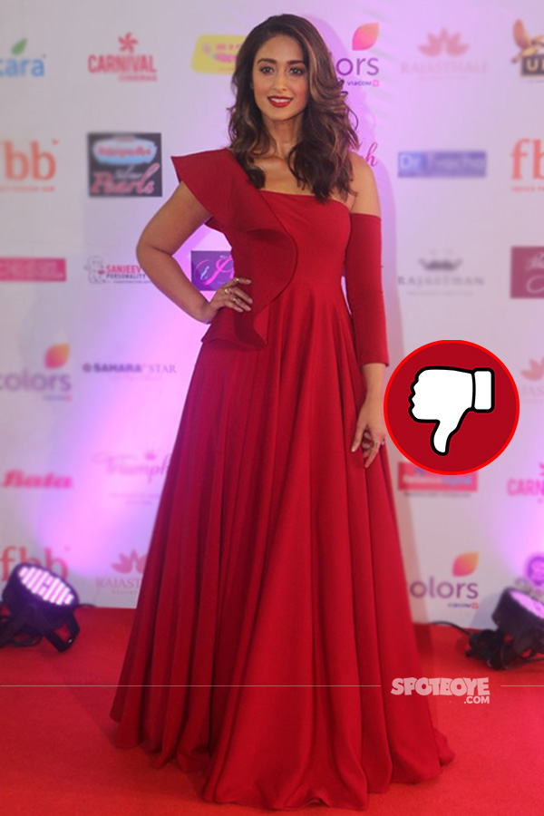 ilieana dcruz at femina miss india 2017 in a red gown