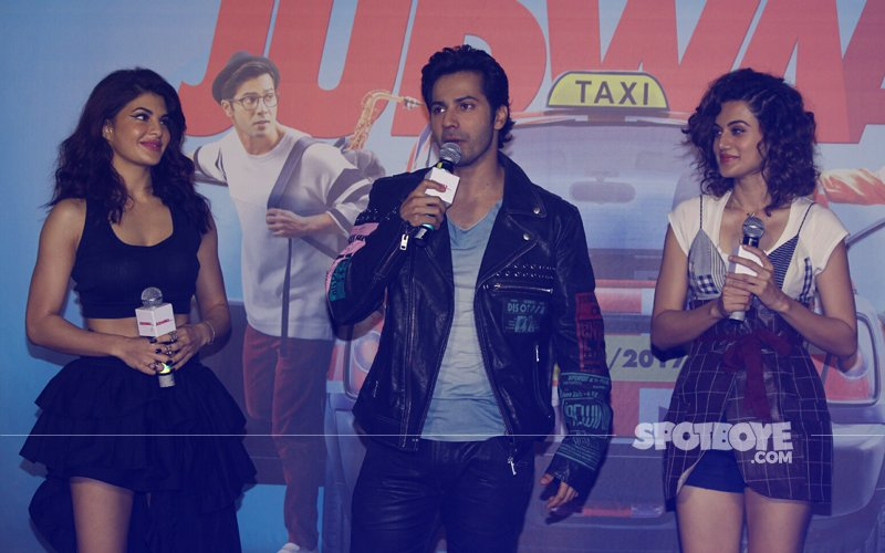 Jacqueline Fernandez, Varun Dhawan & Taapsee Pannu's Candid Moments At Judwaa 2 Trailer Launch