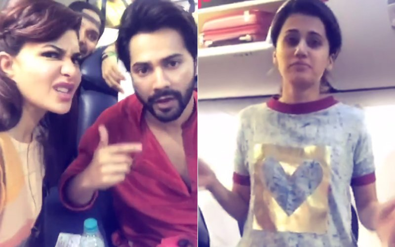 Mumbai Rains: Varun Dhawan, Jacqueline Fernandez & Taapsee Pannu STUCK On A Plane