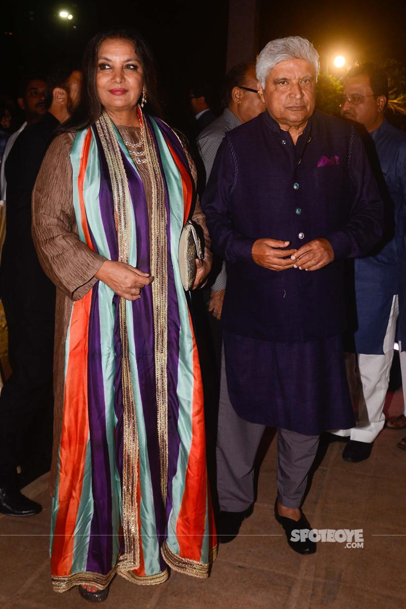 javed akhtar with shabana azmi at poorna patel reception