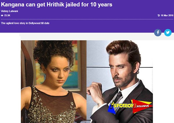 kanagana can get hrithik jailed for 10 years