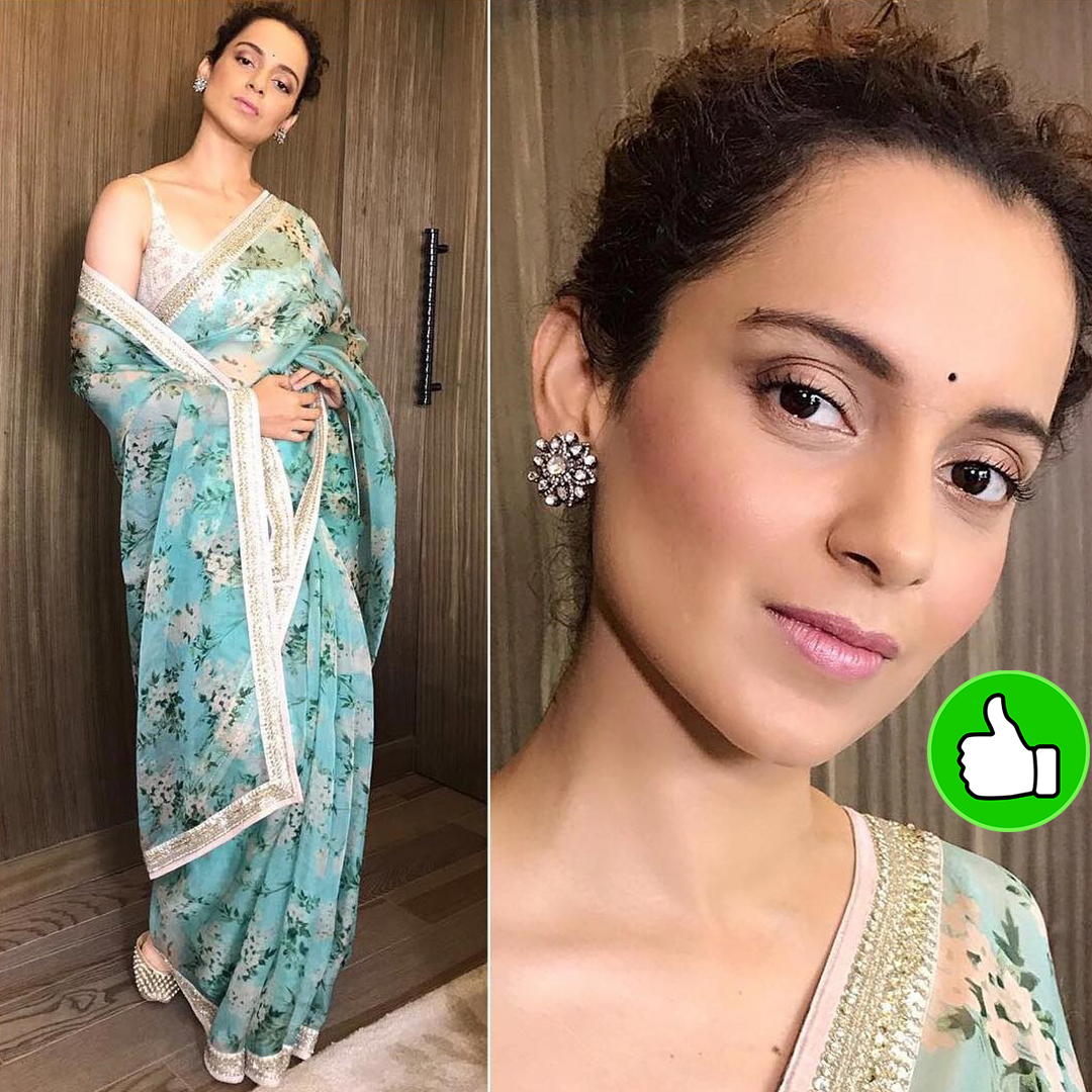 kangana ranaut in a blue saree
