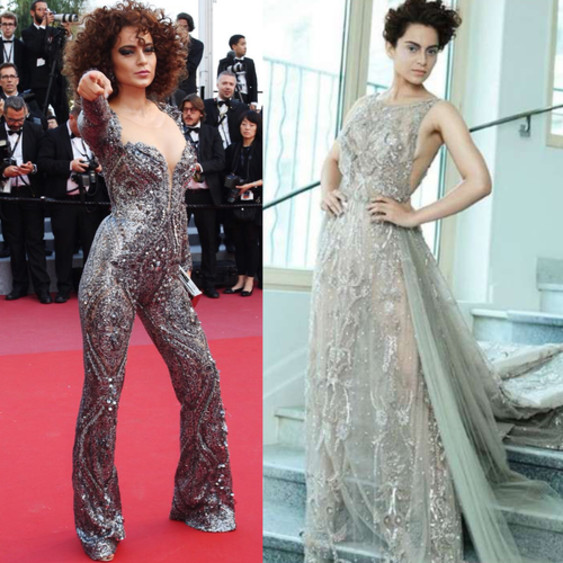 kangana ranaut in a catsuit and beige gown