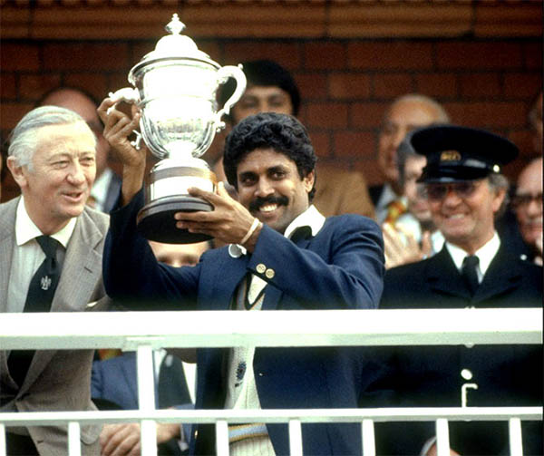 kapil dev after winning the 1983 world cup