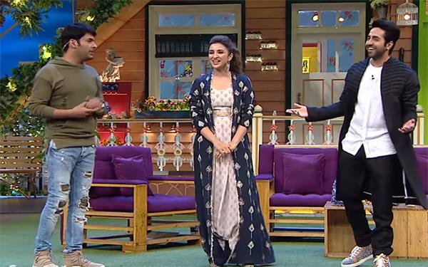 kapil sharma parineeti chopra and ayushmann khurrana promoting meri pyari bindu