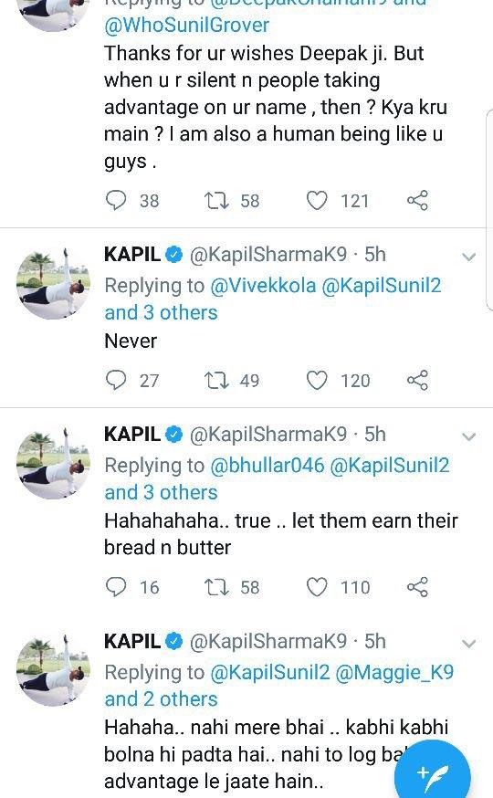kapil sharma series of tweets responding to sunil grover
