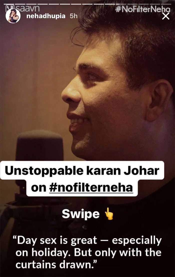 karan johar talks about his sex life on no filter neha