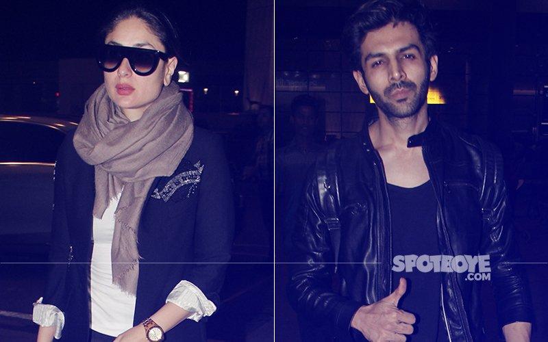 Kareena Kapoor Khan & Kartik Aaryan Spotted At Mumbai Airport