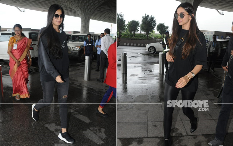 katrina kaif and deepika padukone at the airport