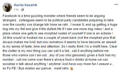kavita kaushik facebook post