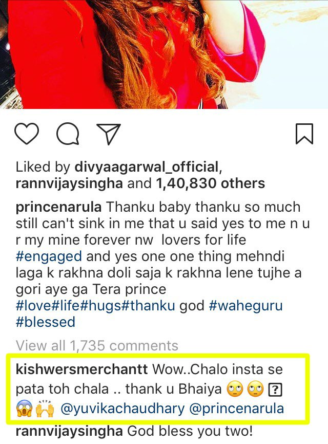 kishwer merchant reply to prince narula engagement