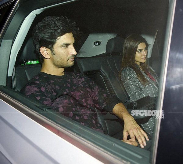 kriti and sushant exiting a party