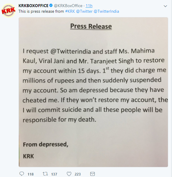krk account to commit suicide