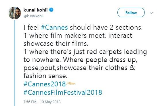 kunal kohli tweets about cannes