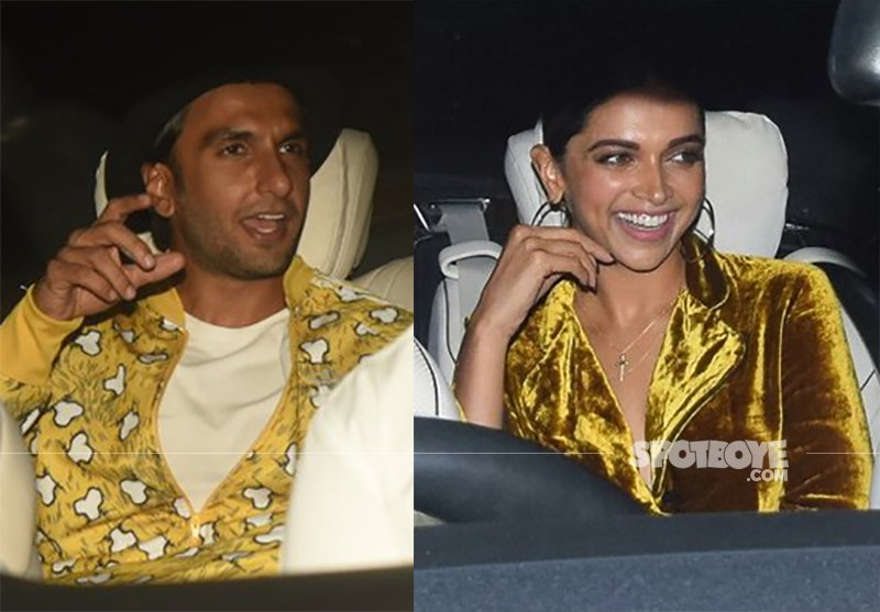 lovebirds ranveer singh and deepika padukone colour coordinate for kaajal anand s 50 th birthday bash